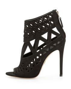 B Brian Atwood Levens Suede Cutout Sandal, Black - Bergdorf Goodman