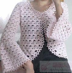 Delicadezas en crochet Gabriela: Chaqueta con bordes redondeados