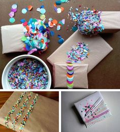 Traditional wrapping paper might have a little competition with these confetti spiked gift boxes. To achieve this abstract look simply wrap your packages in craft paper, loop a few strands of double sided tape around the box and sprinkle with confetti pieces.