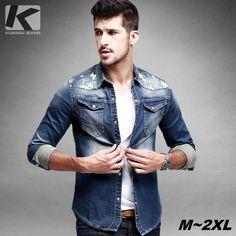 KUEGOU SC-15008 Men's Skinny Denim Long Sleeves Shirt - Blue + White (XXL)