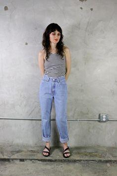 Levis Jeans 90's minimal high waisted tapered denim jeans, grunge, bohemian, vintage levis, womens jeans, vintage jeans, 90s jeans, 90s jeans, cuffed jeans by youngandukraine