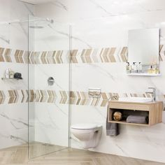 Wood-look tiles continue to be a top design trend. Combine wood-look planks, cut décor tiles and the newest marble-look tiles to create a stylish, refined look. Decor, Wood, Marble Look Tile, Tiles, Top Design Trends, Wood Look Tile, Home Decor, Interior Design, Trendy Home