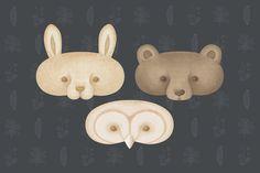 Set 3 of Paper Animal Masks Instant Pdf Download by forestmisha