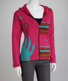Take a look at this Lumbini Imports Pink Stripe Bubble Embroidery Zip-Up Hoodie on zulily today!