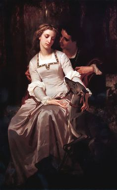 Hugues Merle, a French painter. He studied painting with Léon Cogniet. Hugues Merle began exhibiting at the Paris. Art And Illustration, Tristan Et Iseult, Tristan Isolde, Munier, Art Ancien, My Sun And Stars, Pre Raphaelite, Couple Art, Romeo And Juliet