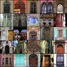 European Windows and Doors Mosaic Collage .
