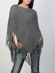 Your place to buy and sell all things handmade Hand knitted Little cotton poncho knit Fringe scarf knit shrug Crochet Poncho Patterns, Knit Or Crochet, Crochet Shawl, Knit Shrug, Knitted Poncho, Scarf Knit, Woolen Clothes, Knitting Accessories, Crochet Fashion