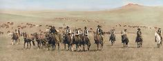 There are a handful of skilled photographers who existed in the west during the years what it was still wild. L.A. Huffman is one of them. This is a colorized version of a working group of cowboys in the open, untouched landscape outside Miles, Montana in 1886. This colorized version is part of the Douglas Kenyon Collection. For anyone interested in him and his work, there is a well done book containing his story and hundreds of his photographs.