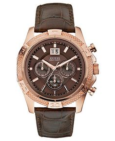 GUESS Watch, Men's Chronograph Brown Croco Grain Leather Strap - All Watches - Jewelry & Watches - Macy's Mode Masculine, Sport Watches, Watches For Men, Guess Watches, Wrist Watches, Men's Watches, Mens Outdoor Clothing, Beautiful Watches, Luxury Watches