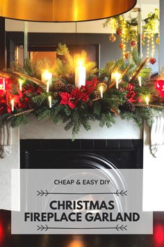 Looking for Christmas decor ideas for this year and wondering how to dress your fireplace quickly, easily and without spending a fortune? Take a look at how to make a Christmas Fireplace Garland for under £15! #raspberryflavouredwindows #christmas #christmasdecor