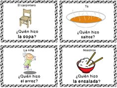 "Zip Around game to practice different past tense forms of the verb ""hacer.""  Each student has a card. One student asks ""Quien hizo ____?"" and then the other students look at their pictures.  The student with the corresponding activity forms a sentence with the pronoun provided and the verb ""hacer"" and then looks for the next student in the sequence."