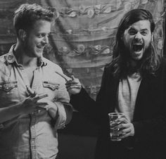Ted Dwane and Winston Marshall of Mumford and Sons