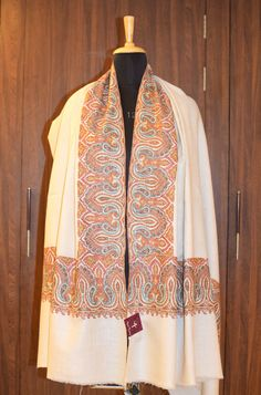 Sozni Hand Embroidered Pure Pashmina Shawl, Pure Cashmere Shawl, Wrap, Shawl, Hand Embroidery, Embroidered by AngadCreations on Etsy #pure #pashmina #cashmere #hand #embroidered #sozni #needle #work #kashmiri #embroidery #natural #Kashmir #white #women #girl #outfit #colour #shawl #stole #orni #india #wrap #scarf #indian #traditional #ethnic #wear Cashmere Wrap, Cashmere Shawl, Kashmiri Shawls, Pashmina Shawl, Shawls And Wraps, White Women, Scarfs, Dress Collection, Hand Embroidery