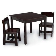Delta Children Mysize 3-Piece Table And Chairs Set In Dark Chocolate