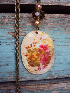 Shabby Chic Flower Long Necklace Mother of by primitivepincushion