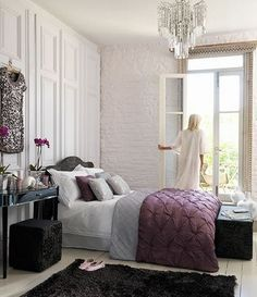Aubergine /Dove Grey layered bed linens; black furniture & rug ~ design indulgences