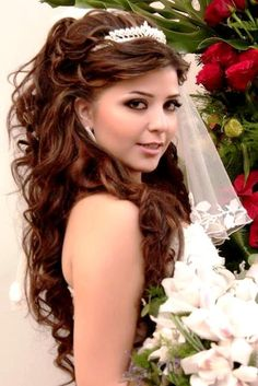 Bride's gorgeous full half up long curls bridal hair ideas Toni Kami Wedding Hairstyles ♥ ❶ with tiara Wedding Hairstyles 2014, Quince Hairstyles, Quinceanera Hairstyles, Bride Hairstyles, Sweet 16 Hairstyles, Glamorous Hairstyles, Hairstyle Wedding, Homecoming Hairstyles, Headband Hairstyles