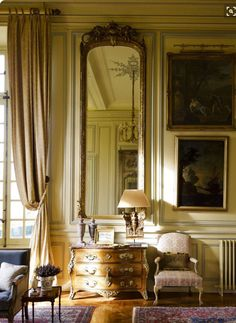 Image Credit: Architectural Digest--- Classic French chateau style home interior design inspiration