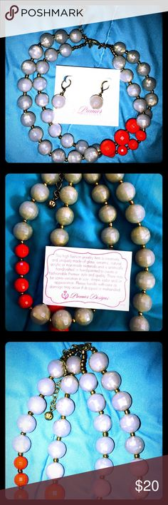 Premier Designs Gray & Red Necklace & Earring Set New in Box! Gray and red beads with gold-toned fastening. Set includes both necklace and earrings. Make me an offer! Or bundle with other items from my closet for a discount. Premier Designs Jewelry
