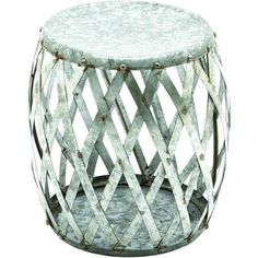 Galvanized metal stool with open basketweave design.Product: Stool     Construction Material: Galvanized metal