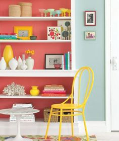 coral bookshelf interior--repin via Anne Morrissy