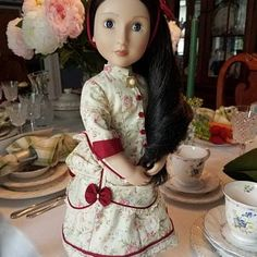 6 piece Regency style outfit for a girl for all time doll Cotton Lace, Cotton Fabric, Silk Bonnet, Bustle Skirt, Bonnet Pattern, Types Of Braids, Plait, Striped Fabrics, Pattern Making