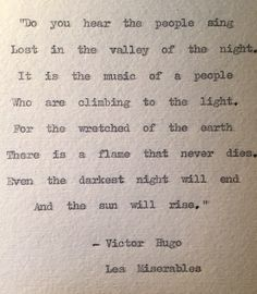 """Les Miserables Typewriter Quote """"even the darkest night will end"""" by BookishGifts on Etsy"""