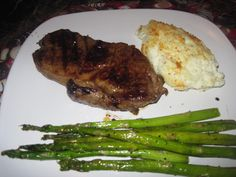 New York strip steak, asparagus, parmesan caulflower bake