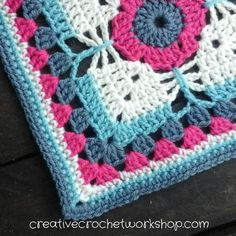 """Crochet A Block Afghan 2017 Block #15: Dragonfly Granny Square 9"""" - free pattern at Creative Crochet Workshop."""