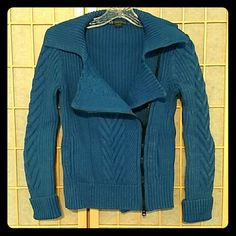 Armani Exchange blue zip-up sweater Like new Armani Exchange cobalt blue zip up swear. Light heather in the yarn. Can be written as a cardigan or on its own - has a moto look that's really cool when it's half-zipped. Size S. 90% cotton, 10% nylon. A/X Armani Exchange Sweaters