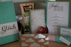 Glücksbox mit schönem Spruch, Notizblock, Glückspillen, Millionärstarterset... in SU Farben jade und flüsterweiss