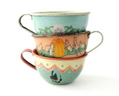 An Instant COLLECTION of TIN TEACUPS - Set of 3