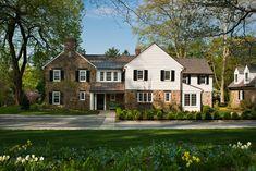 Addition and renovation in Villanova, PA. Exterior Siding, Exterior Design, Atrium House, Lean To, Beautiful Homes, Farmhouse, Cottage, House Design, Rustic