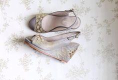 Sabyasachi to Louboutins Latest designer wedding shoes for Indian Brides Bridal Sandals, Bridal Shoes, Designer Wedding Shoes, Designer Shoes, Floral Wedges, Grey Wedges, Leather Socks, Grey And Gold, Indian Bridal