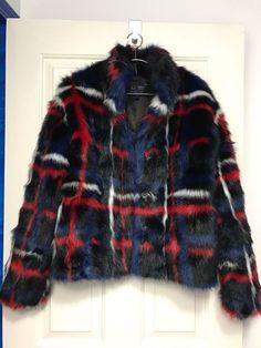 nwot ARMANI JEANS FW2015 black-multi high neck eco fur jacket 38 (US 2~4) #ArmaniJeans #BasicJacket
