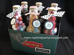 great idea to reuse a cream soda six pack and decorate for husband on valentines with all his favorite snacks!
