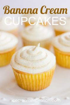 Luscious cupcakes with bananas and pudding and whipped cream! The best cupcakes you will ever eat!