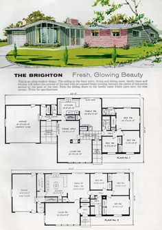 The Daily Bungalow Modern Floor Plans, Modern House Plans, Modern House Design, House Floor Plans, Br House, Sims House, Vintage House Plans, Vintage Houses, Mid Century House