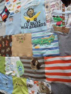 baby clothes quilt, this is cute cause I know I won't want to get rid of all the cute clothes!