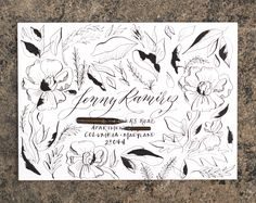 Chic Inky Poppies Mail Art Tutorial Calligraphy Envelope, Modern Calligraphy, Postman's Knock, Pocket Envelopes, Sumi Ink, Gold Watercolor, Dip Pen, Flower Doodles, Mail Art