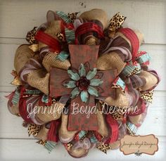 Western Rustic Red, Turquoise, Leopard print and Burlap Cross Deco Mesh Wreath, on Etsy, $105.00