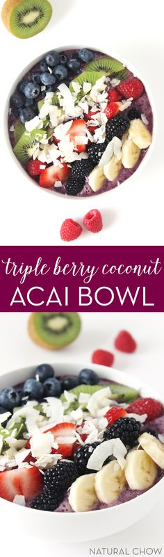 This beautiful, colorful, fruity triple berry coconut acai bowl is the perfect way to start your day! It's vegan, healthy, and it has freeze-dried acai powder in it, a superfood loaded with antioxidants and essential amino acids.