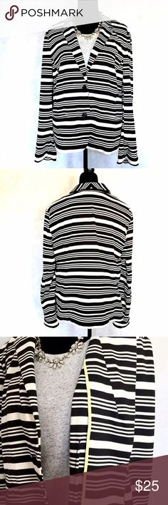 🍗🎉HOLIDAY SALE🦃🍁 Loft Black/Off White Striped Knit Stretch Blazer. Horizontal stripes in various widths create a more playful aesthetic. Notched collar, 2-button placket, 2 pockets, & seams create a more fitted silhouette but it's also stretchy. Extra button sewn into the inside label. Inside seams are reinforced with fun chartreuse binding (as shown in last photo). Plus all the stripes are matched at the seams/shoulders which elevate the quality. 1st photo for styling…