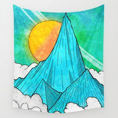 Check out society6curated.com for more! @society6 #illustration #wall #apartment #decor #homedecor #buy #shop #sale #design #shopping #apartmentgoals #sophomoreyear #sophomore #year #college #student #home #house #gift #idea #art #interiordesign #line #drawing #blue #mountains #sky #yellow #white