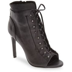 Women's Dolce Vita 'Hampton' Open Toe Lace-Up Bootie (12,635 MKD) ❤ liked on Polyvore featuring shoes, boots, ankle booties, black leather, black booties, black lace up booties, black open toe booties, open toe booties and black studded booties