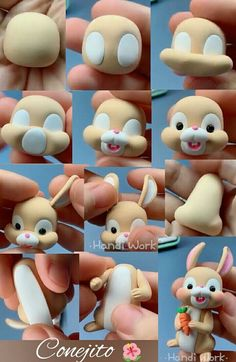 Cold porcelain modeling – Hobbies paining body for kids and adult Polymer Clay Animals, Cute Polymer Clay, Polymer Clay Projects, Diy Clay, Clay Crafts For Kids, Easter Crafts, Diy And Crafts, Cake Topper Tutorial, Fondant Tutorial