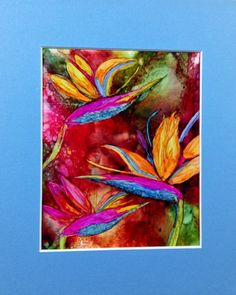 Alcohol ink painting. Abstract.  Floral. Birds by KCsCornerGallery, $45.00