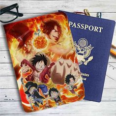 One Piece Fire Leather Passport Wallet Case Cover