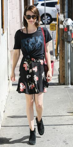 Emma Roberts styled her summer dress as a skirt with a cool vintage-inspired tee // #StreetStyle
