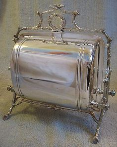 19th C. FENTON BROTHERS ENGLISH VICTORIAN SILVERPLATE FOLDING BISCUIT BOX WARMER  $755.00